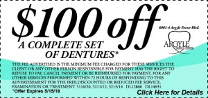 100 Off a Set of Dentures - Click Here - Exp 4-15-18